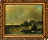OIL ON BOARD, COASTAL LANDSCAPE