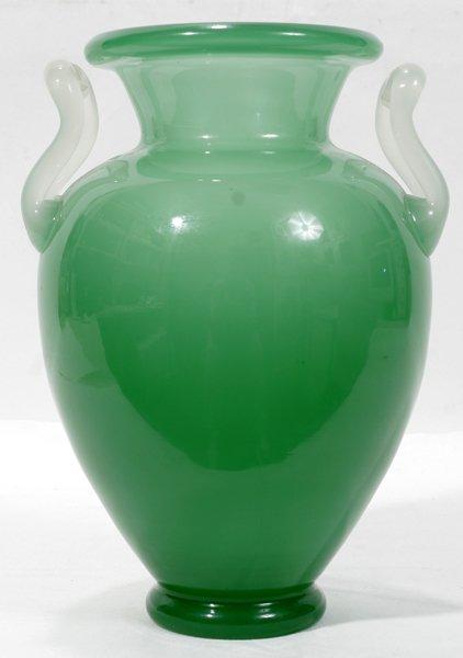 110003: STEUBEN, DOUBLE HANDLE, GREEN JADE GLASS VASE