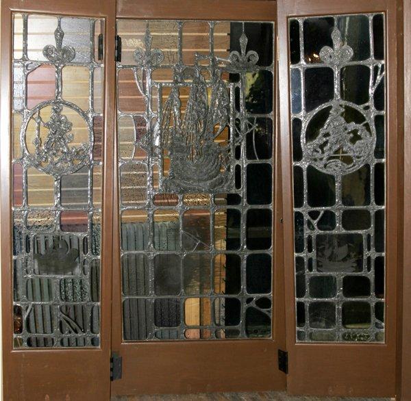 110016: AMERICAN LEADED GLASS DOORS W/ SHIP MOTIF