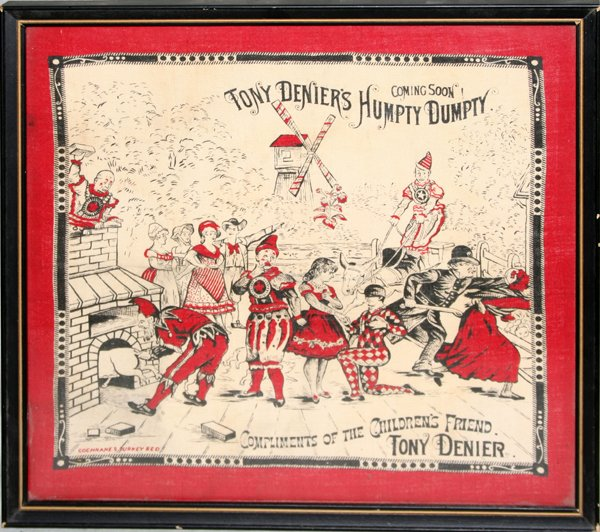 "110023: TONY DENIER, ""HUMPTY DUMPTY"" COTTON AD SAMPLER"
