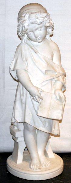 111001: ITALIAN CARRARA MARBLE SCULPTURE OF A CHILD