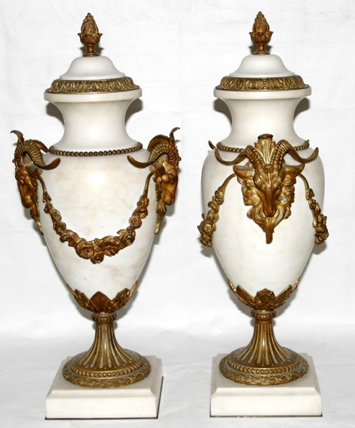 111002: FRENCH WHITE MARBLE & BRONZE URNS