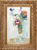 111014 P COLLOMB OIL ON CANVAS FLORAL STILL LIFE