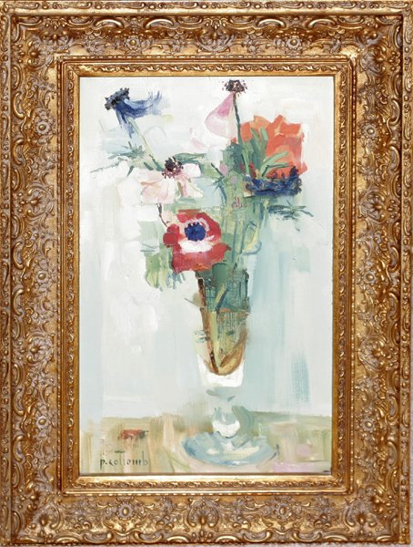 111014: P. COLLOMB, OIL ON CANVAS, 'FLORAL STILL LIFE'