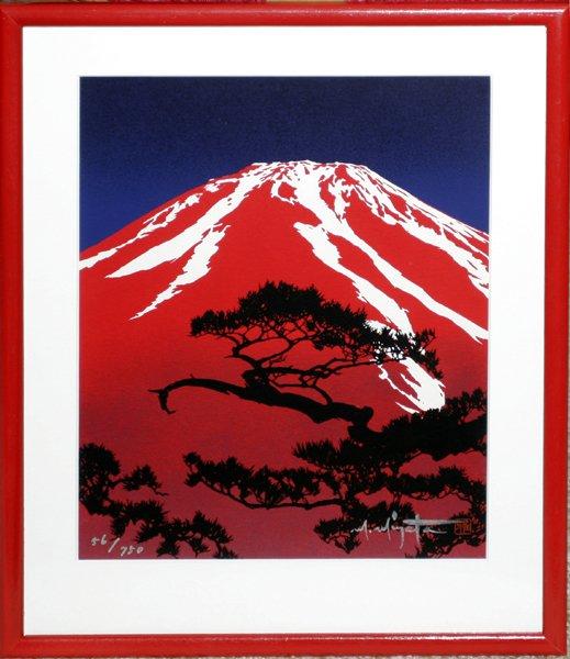 111431: MASAYUKI MIYATA, SILKSCREEN, 'RED MT. FUJI'