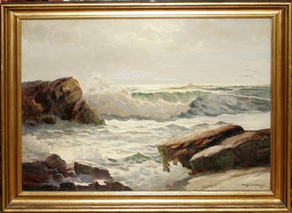 112003: ROBERT W. WOOD, OIL ON CANVAS, SEASCAPE