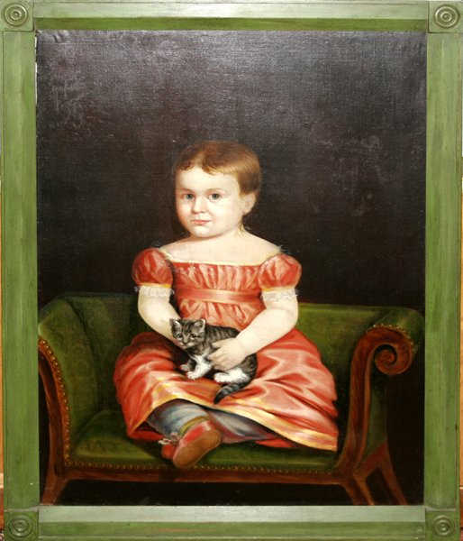 112009: PRIMITIVE OIL ON CANVAS, SEATED GIRL W/ KITTEN