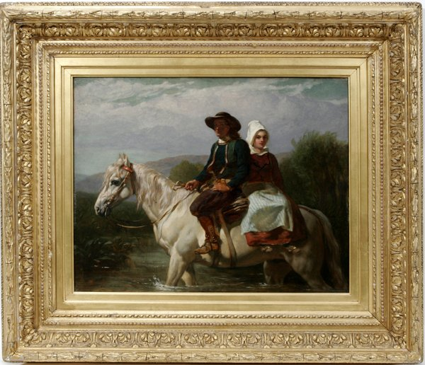 112011: FREDERICK GOODALL R.A., OIL ON PANEL, FORDING