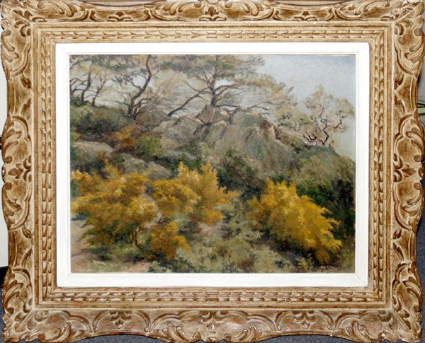 112013: GUY C. WIGGINS, OIL ON CANVAS, FALL LANDSCAPE