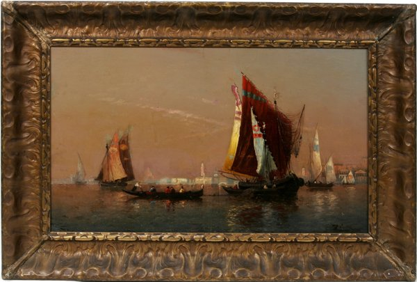 "112015: FELIX FRANCOIS ZIEM, OIL ON BOARD, ""SCHOONERS"""