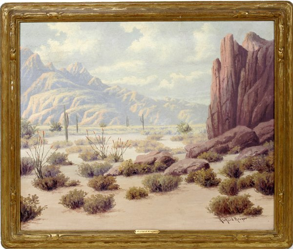 112016: RICHARD KRUGER, OIL ON MASONITE, DESERT SCENE