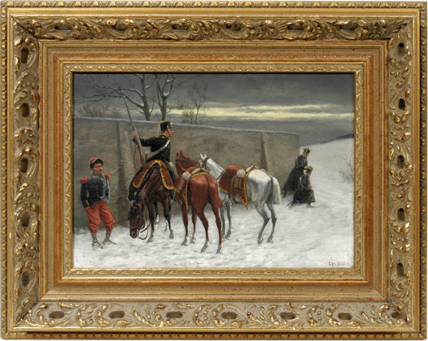 112022: CHRISTIAN SELL, OIL ON CANVAS, MILITARY SCENE