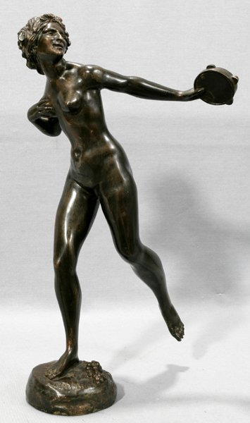 112023: LINA MILLES, BRONZE SCULPTURE, FEMALE NUDE