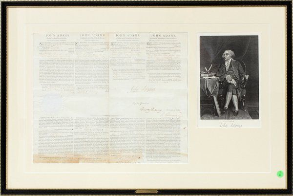 PRESIDENT JOHN ADAMS SIGNED SHIP'S DOCUMENT 1798