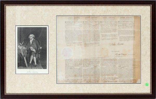 PRESIDENT JOHN ADAMS SIGNED DOCUMENT 1798