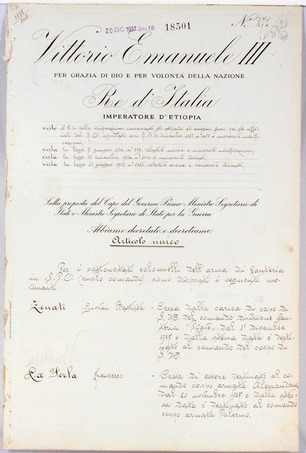 BENITO MUSSOLINI & KING EMANUELE SIGNED DOCUMENT