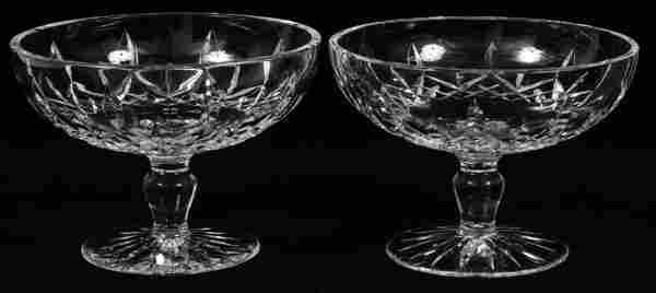 WATERFORD 'LISMORE' CRYSTAL COMPOTES, TWO