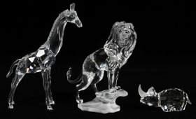 SWAROVSKI CRYSTAL ANIMAL FIGURINES THREE PIECES