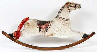 VINTAGE PAINTED WOOD WALL-MOUNT ROCKING HORSE