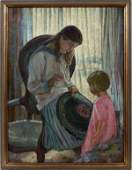 ROY C GAMBLE OIL CANVAS WOMAN SEWING RUG