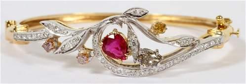 NATURAL RUBY & 1.30CT DIAMONDS BANGLE BRACELET