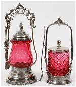 REED & BARTON SILVERPLATE & GLASS PICKLE CASTORS