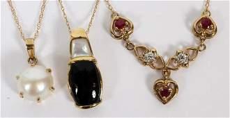 GOLD CHAINS W/ BLACK ONYX PEARL ENHANCEMENT DIAMOND