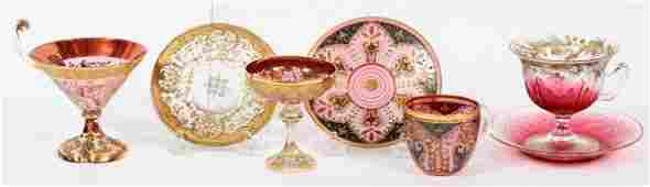 MOSER ENAMELED GLASS CUPS  SAUCERS SEVEN PIECES