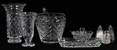 WATERFORD CRYSTAL TABLEWARE & VASES, EIGHT PIECES
