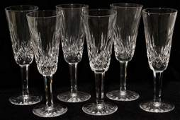 WATERFORD LISMORE CRYSTAL CHAMPAGNE FLUTES SIX