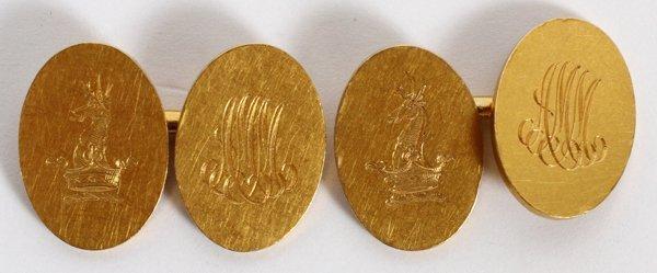 TIFFANY & CO. YELLOW GOLD CUFFLINKS EARLY 20TH C.