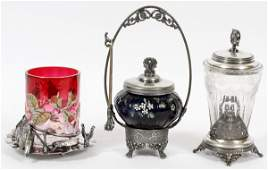 VICTORIAN ENAMELED & ETCHED GLASS &SILVERPLATE JARS