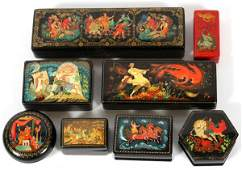 RUSSIAN LACQUER BOXES, EIGHT