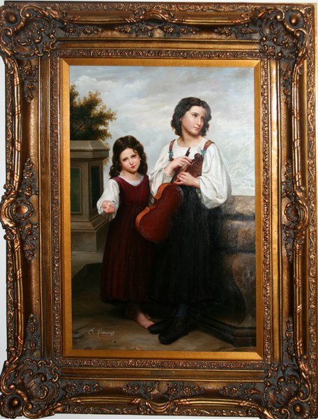"120013: S. FRANCOIS, OIL ON CANVAS, ""GIRLS /W VIOLIN"""