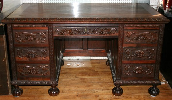 120019: BRAZILIAN ROSEWOOD DESK & LEATHER ARM CHAIR