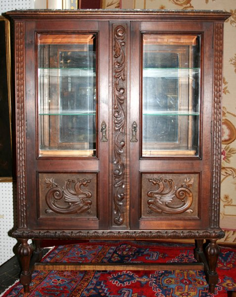 120021: BRAZILIAN ROSEWOOD & MARBLE TOP CHINA CABINET