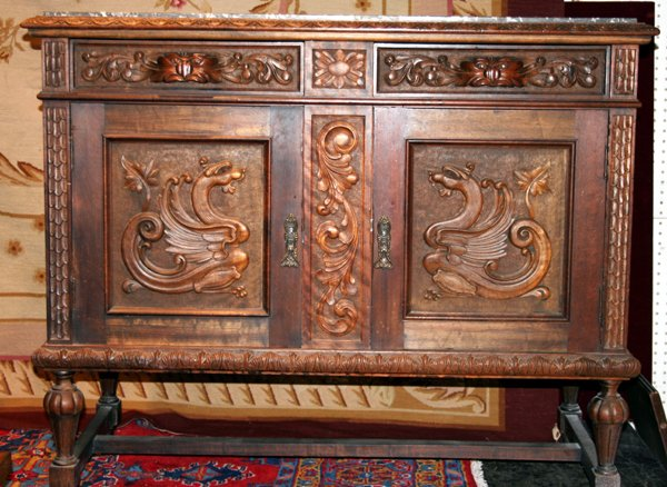 120022: BRAZILIAN CARVED ROSEWOOD & MARBLE TOP SERVER