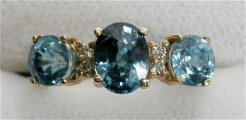 120136 4 12 CT BLUE ZIRCON DIAMOND  14K GOLD RING