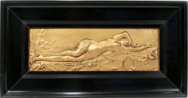 120591: GILT IRON PLAQUE, RECLINING NUDE WOMAN