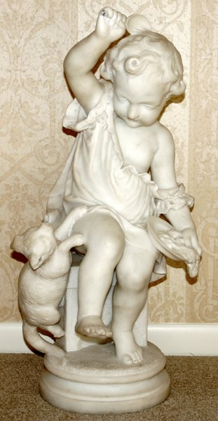 121001: CARVED CARRARA MARBLE SCULPTURE OF A CHILD