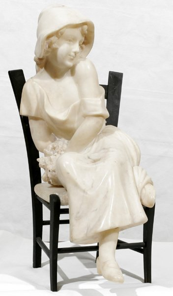 121003: CARVED MARBLE SCULPTURE OF SEATED GIRL