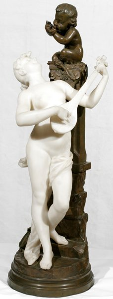 121006: FRENCH BRONZE & MARBLE SCULPTURE, NUDE & CUPID