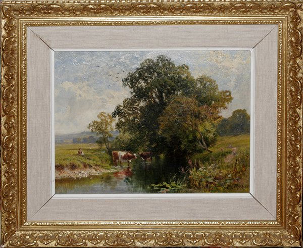 121014: WALTER W. CAFFYN OIL ON CANVAS, PASTORAL SCENE