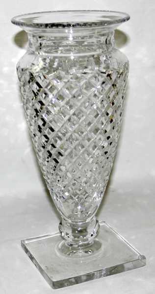 121291 Hawkes Cut Glass Vase Delft Diamond C1920