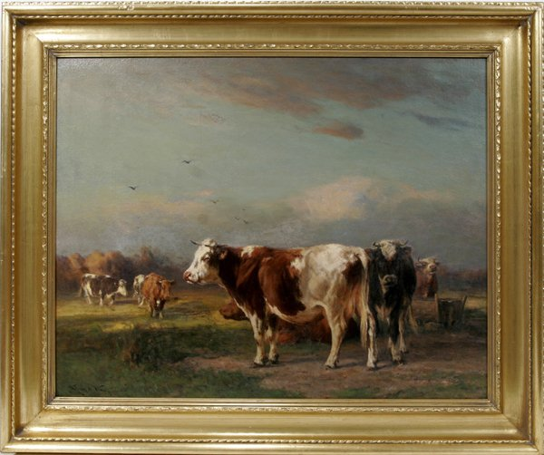 122001: WILLIAM H. HOWE, OIL ON CANVAS, COWS