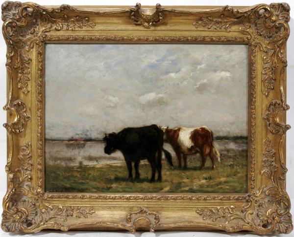 122003: JOHN C. WIGGINS OIL ON CANVAS, CATTLE WATERING