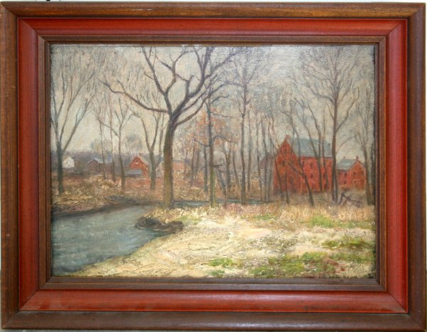 122005: WALTER E. BAUM, OIL ON ARTIST BOARD, WINTER