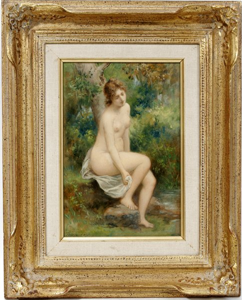 122013: FRANÇOIS LAFON, OIL ON PAPERS, 'NUDE BATHING'