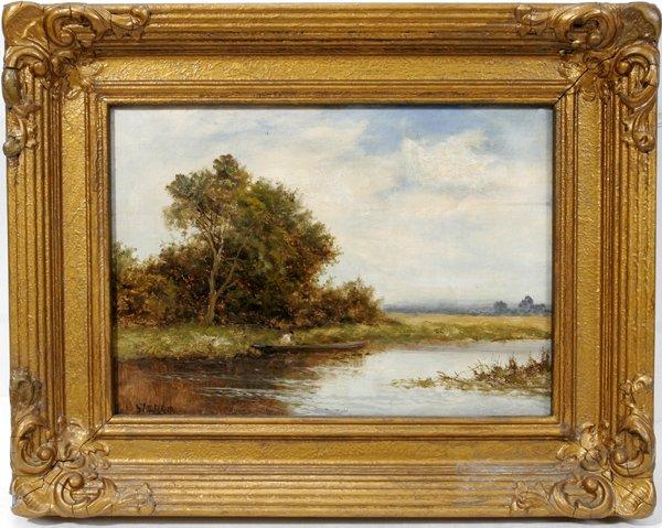 122014: DANIEL SHERRIN, OIL ON CANVAS, RIVER LANDSCAPE
