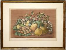122281 CURRIER  IVES LITHOGRAPH SUMMER FRUITS
